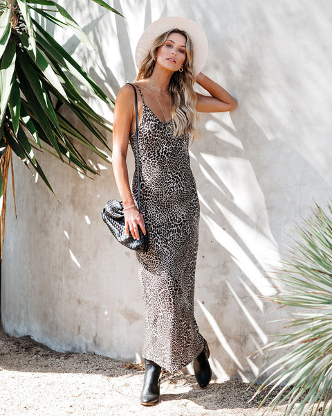Rare Beauty Leopard Midi Slip Dress
