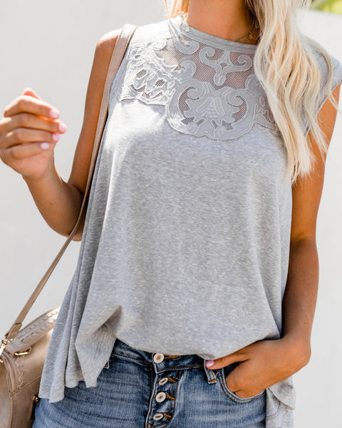 Rarity Embroidered Tank - Heather Grey - FINAL SALE