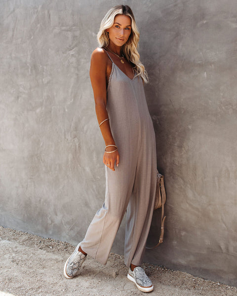Ready Or Not Knit Jumpsuit - Grey