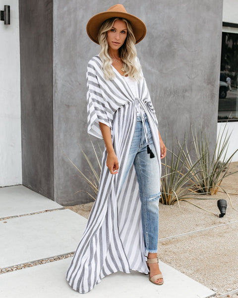 Ready Set Go Striped Duster Kimono