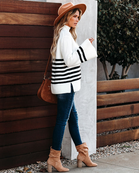 Ready Set Snow Mock Neck Striped Knit Sweater