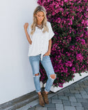 Ready To Go Button Down Tie Top - Ivory - FLASH SALE