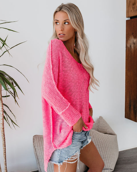 Ready To Relax Knit Sweater - Bubblegum - FINAL SALE