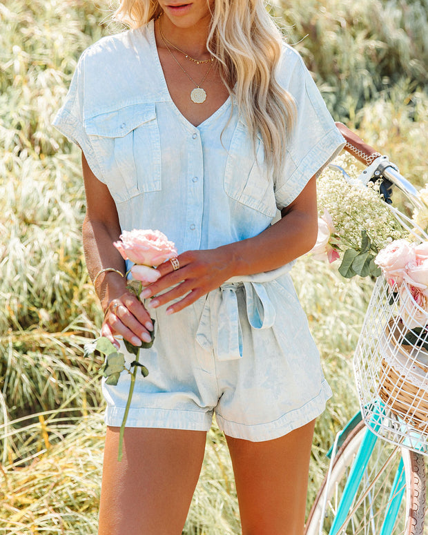 Reagan Pocketed Acid Wash Utility Romper view 3