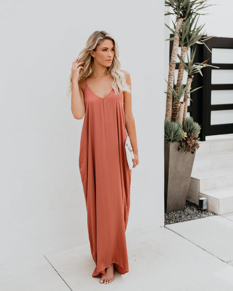 Really Living Olivian Pocketed Maxi Dress - Terracotta