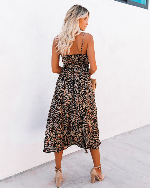 PREORDER - Real Taste Printed Cutout Midi Dress