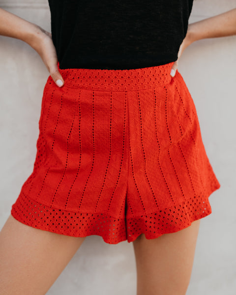 Candy Apple Eyelet Shorts - FINAL SALE