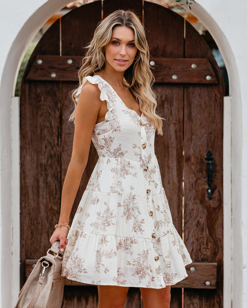 Reed Floral Button Down Tiered Babydoll Dress - Natural