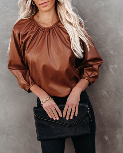 Regal Faux Leather Top - Caramel