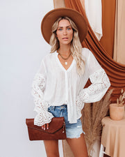 Rekindle Eyelet Button Down Top - Ivory view 9