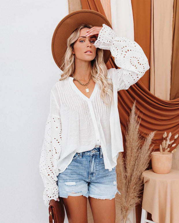 Rekindle Eyelet Button Down Top - Ivory view 5