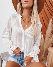 Rekindle Eyelet Button Down Top - Ivory view 1