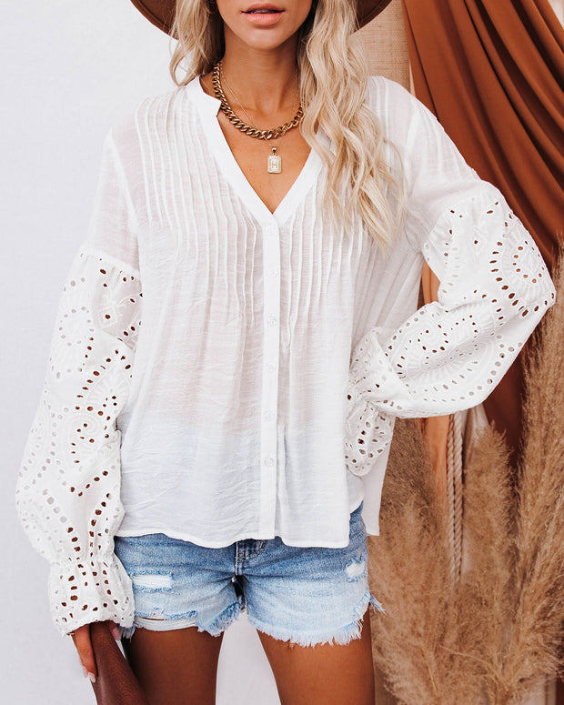 Rekindle Eyelet Button Down Top - Ivory view 7