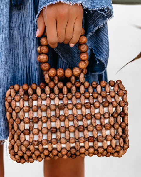Renata Bamboo Beaded Clutch