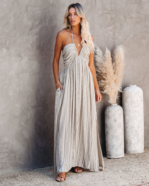 PREORDER - Renesmae Pocketed Halter Maxi Dress