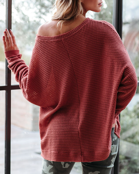 Repetition Thermal Knit Top - Ginger - FINAL SALE