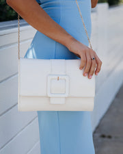 Represent Crossbody Buckle Clutch - White