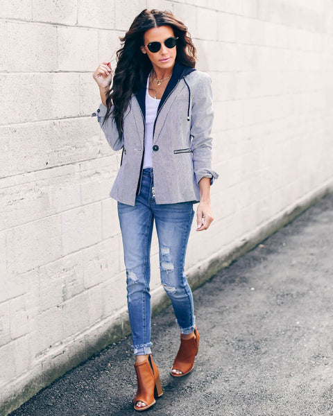 Workin' It Layered Cotton Pocketed Blazer