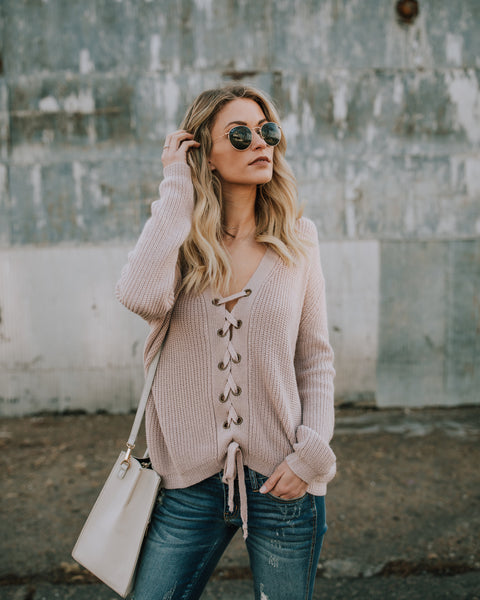 Emilia Lace Up Cotton Sweater