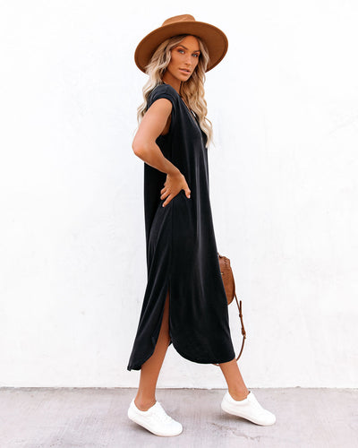 Retrograde Cotton Blend Midi T-Shirt Dress