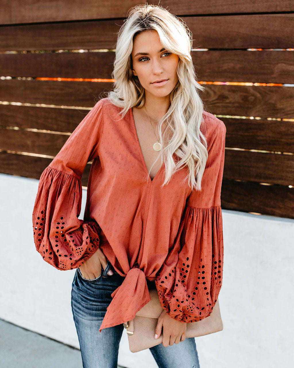c21c558146d77 Detail Product. ← Home - BOHO BABE - Rhapsody Cotton Balloon Sleeve Tie Top  - Terracotta
