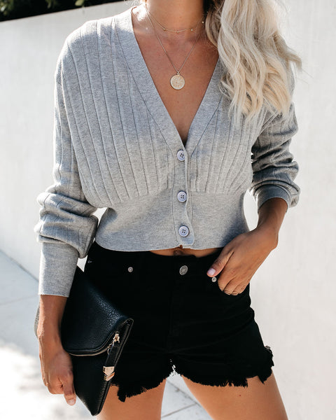 Rhodes Knit Sweater Top - Grey