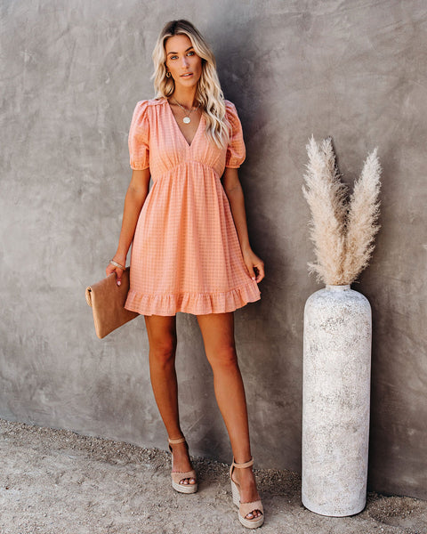 Richie Puff Sleeve Babydoll Dress - Peach