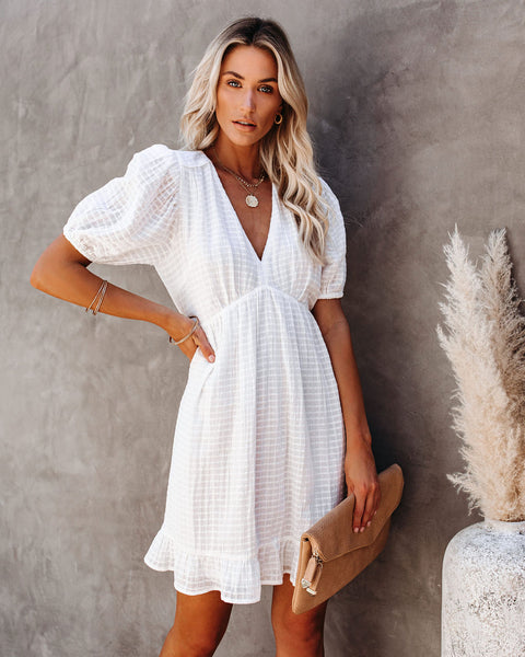 Richie Puff Sleeve Babydoll Dress - White