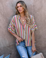 Ride The Waves Collared Button Down Top - FINAL SALE