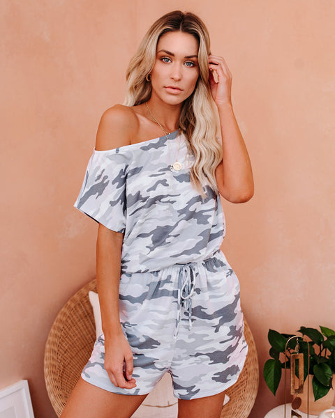 Riding Solo Pocketed Knit Camo Romper