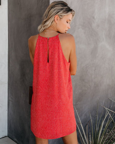 Right On Spotted Tank Dress - Red