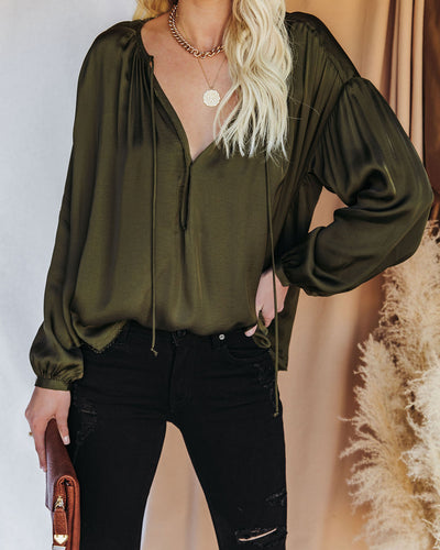 Riker Satin Frayed Blouse - Olive