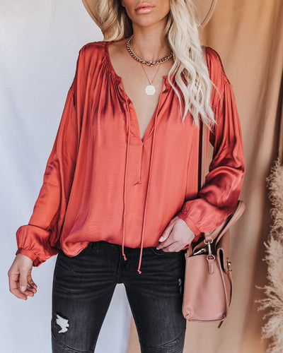 Riker Satin Frayed Blouse - Terracotta