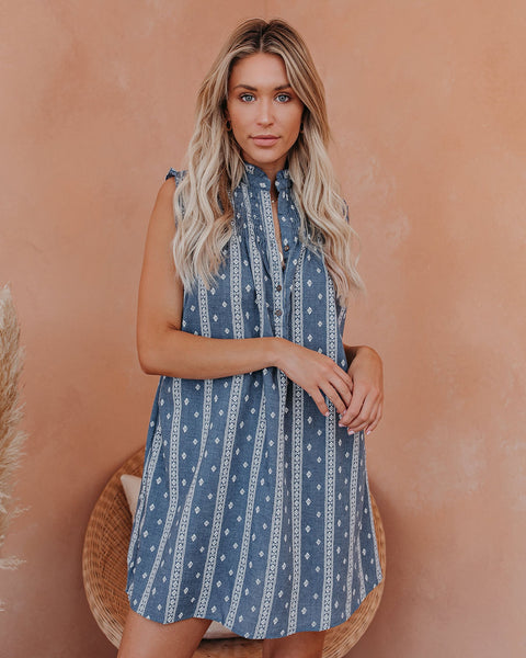 Rituals Pocketed Smocked Chambray Dress