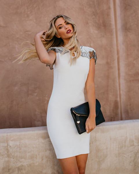 Ritzy Embellished Cape Bodycon Dress - White