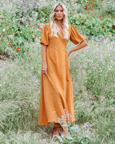 Riva Puff Sleeve Shimmer Wrap Maxi Dress