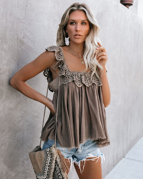 Robbie Cotton Eyelet Ruffle Tank - Mocha - FINAL SALE