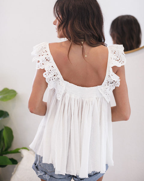 Robbie Cotton Eyelet Ruffle Tank - Off White - FINAL SALE