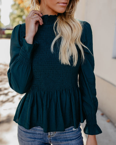 Rockefeller Smocked Blouse - Teal