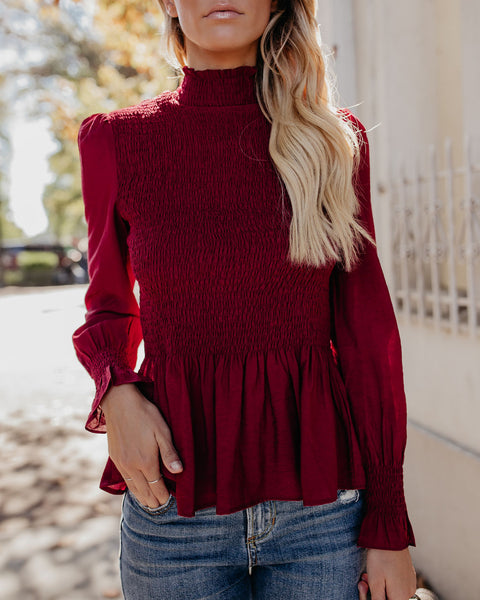 Rockefeller Smocked Blouse - Wine