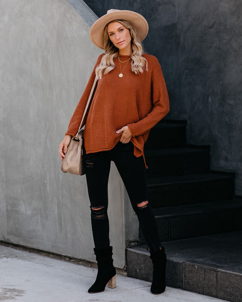 Roll Up Your Sleeves Knit Sweater - Toffee - FINAL SALE