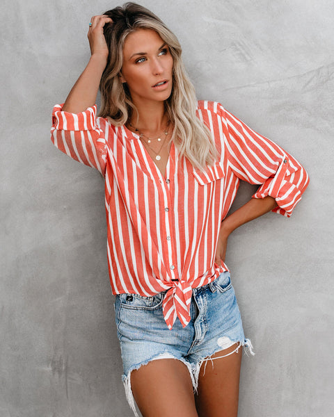 Roll With The Tide Striped Button Down Tie Top