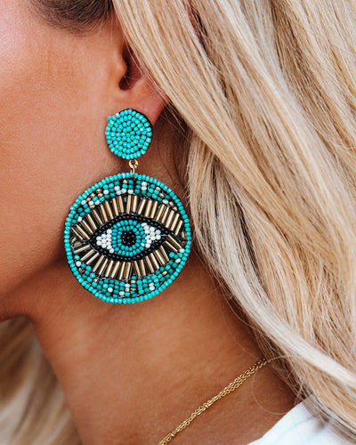 Roma Beaded Statement Earrings - Turquoise