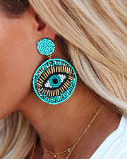 Roma Beaded Statement Earrings - Turquoise view 1