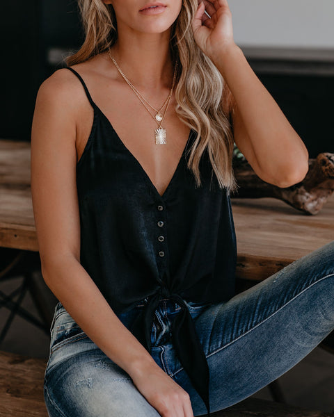 Roman Goddess Satin Button Down Tie Tank - Black