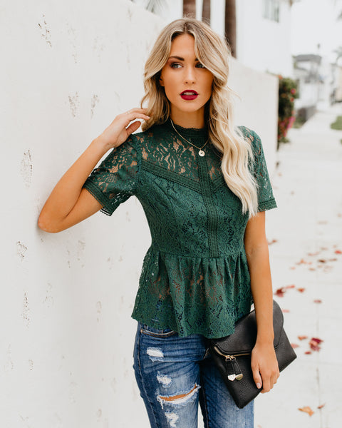 Romanticism Lace Peplum Top - Green