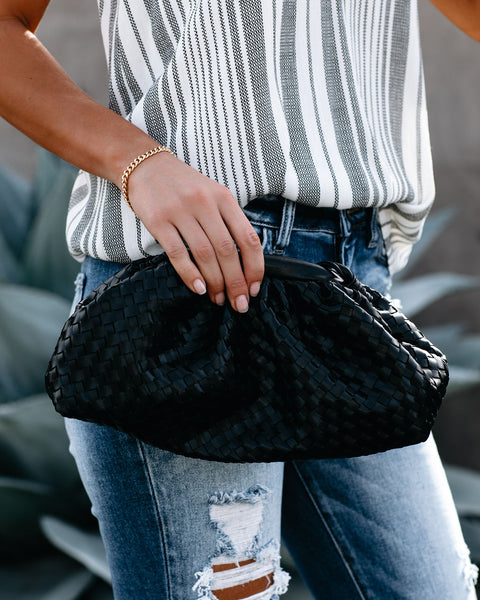 Rome Woven Crossbody Pouch Bag - Black - FINAL SALE