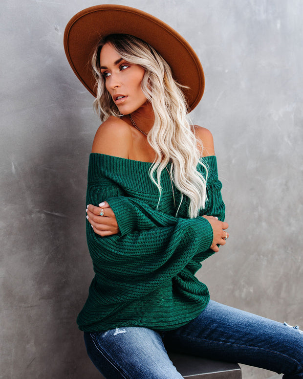 Ronda Off The Shoulder Dolman Knit Sweater - Green