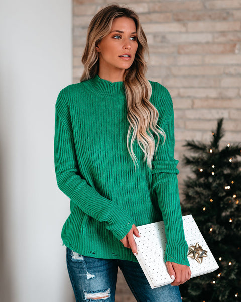 Room For Dessert Distressed Knit Sweater - Sage - FINAL SALE