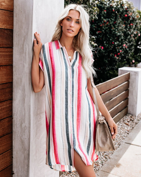 Rose Crush Striped Shirt Dress